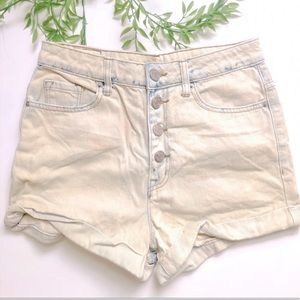 BDG Urban High rise jean off white frayed button up shorts Size Medium